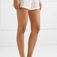 Skin - Crinkled cotton-gauze pajama shorts