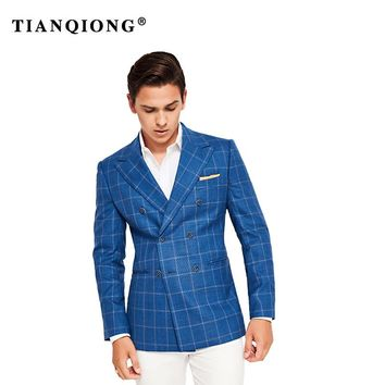 TIAN QIONG High Quality Jacket Blue Plaid 2018 Tailor Made Suit Jacket Slim Fit Blazers for Men Wedding Dress Mens Wool 100%