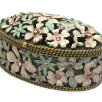 Brass Enamel & Rhinestone Floral Trinket Box Small Ornate Oval Box Openwork Enamel Flowers Engagement Wedding Proposal Ring Box - Magnetic