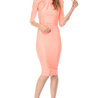 Neon Coral Plunging Back Body Con Dress