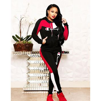 Champion Autumn And Winter Fashion New Embroidery Letter Sports Leisure Hooded Long Sleeve Top And Pants Two Piece Suit Black