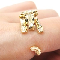 Cow Bull Shaped Animal Wrap Around Ring in Shiny Gold   US Sizes 4 to 9