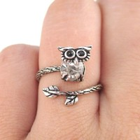 Little Baby Owl on A Branch Shaped Animal Ring in Silver