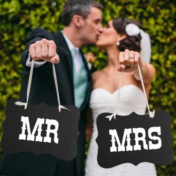 Mr and Mrs photo props, Mr and Mrs chair signs, wedding decorations, bride and groom signs, photo booth signs, unique wedding decor