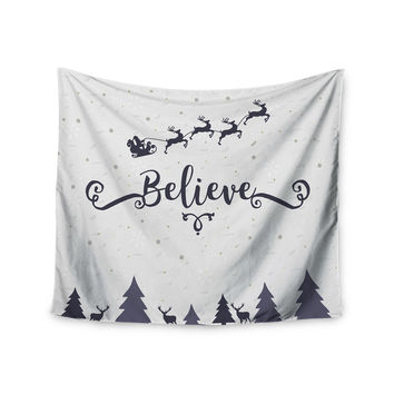 "Famenxt ""Christmas Believe"" Gray Lavender Illustration Wall Tapestry"