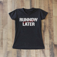 Run Now Wine Later Shirt T Shirt Top V Neck Women  – Size S
