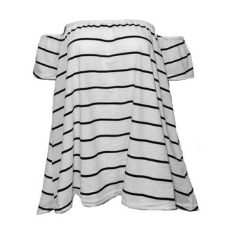 Striped Cute Off Shoulder Loose Shirt