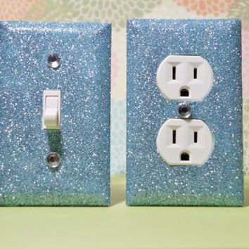 SET Of BLUE Sapphire Glitter Swichplate / Outlet Covers All STYLES