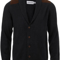 Navy Shoulder Patch Cardigan - Mens Cardigans & Sweaters  - Clothing