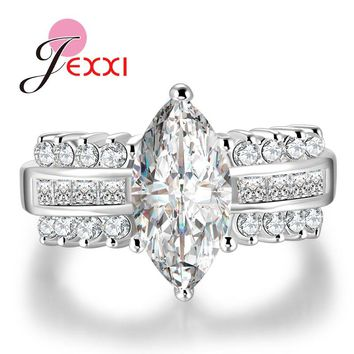 JEXXI Unique Design White Oval CZ Crystal Rings For Women 925 Sterling Silver Wedding Band Finger Rings Fashion Bridal Jewelry