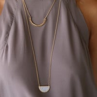 Sydney Island White Marble Half Circle Gold Necklace