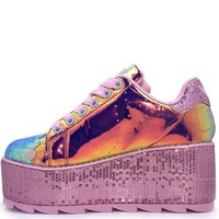 YRU Lala Mermaid Holographic Sequin Platform Rave Shoes