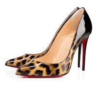 Pigalle Follies 100 Leopard-Black Patent Leather - Women Shoes - Christian Louboutin