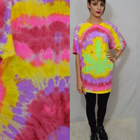 Tie Dye Shirt Pot Leaf XL Psychedelic Hippie Trippy Soft Grunge Seapunk Oversize T Shirt Handmade Tie Dye Clothing Women Men Unisex Funky
