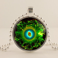 Cat eye nebula, Space, Astronomy glass and metal Pendant necklace Jewelry.