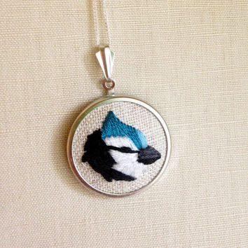 BlueJay Blue Jay Embroidered Bird Necklace Embroidery Pendant or Brooch