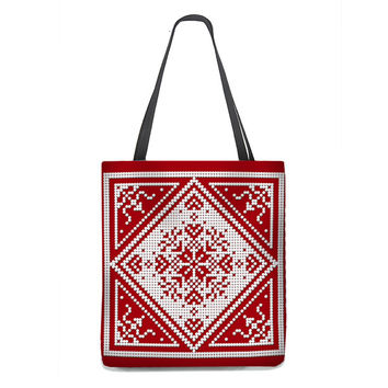 Christmas Tote Bag, Scandinavian Snowflake in white on red