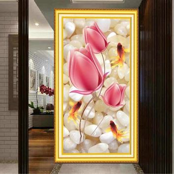 Full Stitch Tulips Fish Flower DMC Cross Stitch Kits Accurate Printed Embroidery DIY Handmade Needle Work Home Decor