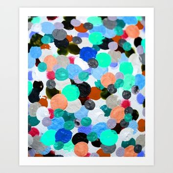 Aqua Rainbow Paint Drops Art Print by wtfineart