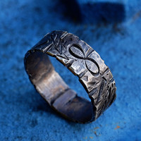 Silver Infinity Engraved Symbols Ring, Arrows and Scratches, LOVE Symbolic Ring Band, Sterling Silver Men's / Women's Ring, Promise Ring