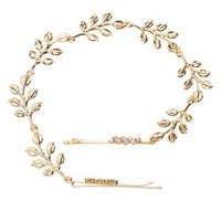 Gold Rhinestone & Leaf Bobby Pin Hair Chain by Charlotte Russe