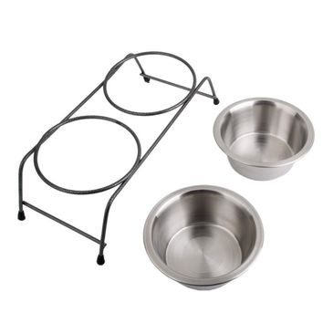 Stainless Steel dog food & water bowl with raised stand