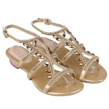 Stylish Faux Jewel and Flat Heel Design Sandals For Women - Golden 39