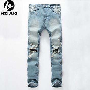 Ripped jeans Men Jeans Hole Designer Hip Hop Denim Trousers Pants