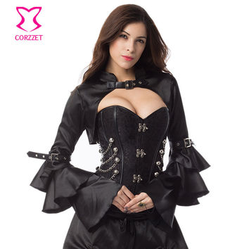 Black Satin Long Ruffle Butterfly Sleeve Sexy Burlesque Costumes Corset Accessories Gothic Victorian Jacket Steampunk Bolero