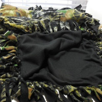 Camouflage Fleece Lap Throw, Fleece Blanket, Sofa Throw, Hand Tied Fringe, Quilts and Blankets