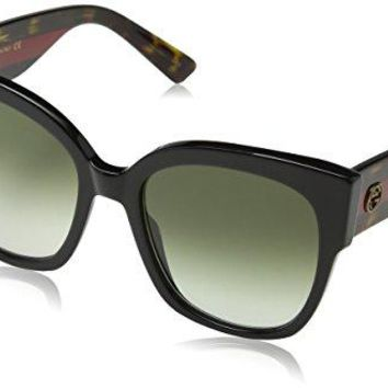 Gucci 0059 001 Black Havana Green GG0059S Sunglasses