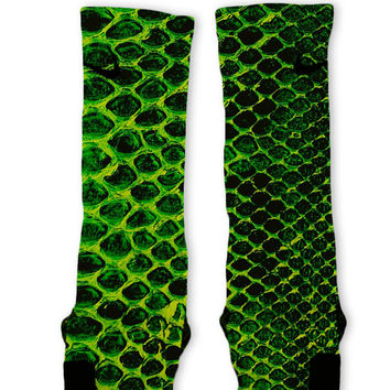 Green Snake Skin Custom Nike Elite Socks