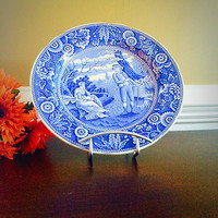 WOODMAN SPODE Blue Room Transferware Plate, Vintage China Made in England Collectors Plate, Felix Vintage Market