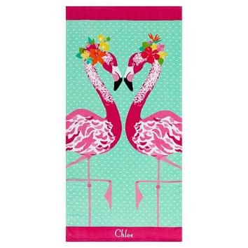 Kiss Me Flamingo Beach Towel