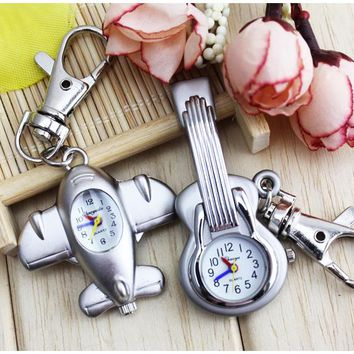 Bronze Men Women Guitar Shape Quartz Pocket Watch plane Retro Key chain Pendant Boys Girls Wonderful Gift Reloj A254