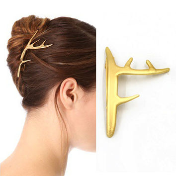 hot fashion popular matted gold metal deer horn Hair grips barrettes Hair clip accessories Jewelry women's bijoux
