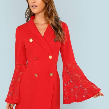 Lace Trim Sleeve Double Breasted Wrap Dress