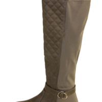 Brown Quilted Over The Knee Boots With Elastic Paneling