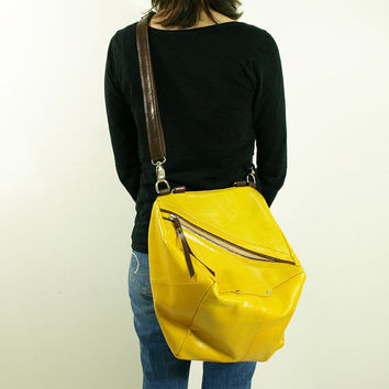 Qb yellow leather messenger bag