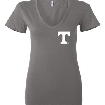 Official NCAA University of Tennessee Volunteers, Knoxville Vols UT UTK Women's Big Orange T Ladies Deep V-Neck - 35TN-14