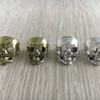 Free shipping 4Pcs/Lot Mix Golden Silver Plated Skull Hair dread dreadlock beads approx 10mm hole