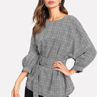 Buckled Belt Detail Plaid Top -SheIn(Sheinside)