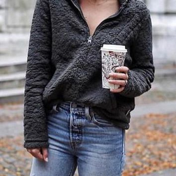 Dark Grey Zipper Pockets Turndown Collar Long Sleeve Sherpa Sweatshirt