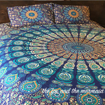 Mandala quilt cover, flat sheet and 2 matching pillowcases. Boho duvet cover+sheet+2 pillowcases. Roundie mandala boho doona cover set
