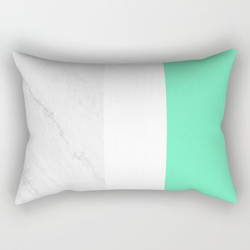 Marble White Mint Rectangular Pillow by ARTbyJWP