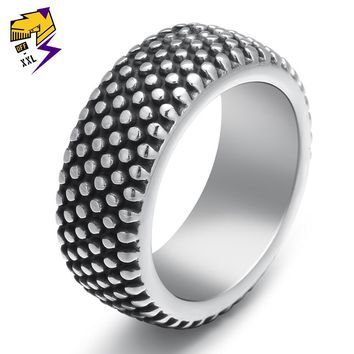 Steampunk Groove Tire Rings for Men Antique Silver Stainless Steel Punk Rock Motorcycle Biker Ring Party Jewelry