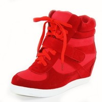 New Hot Women Fashion Sneakers High Top Lace Wedge Heels Ankle Top Red Shoes (6 (Pink))