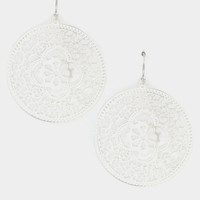 Floral Filigree Round Dangle Earring - Rhodium