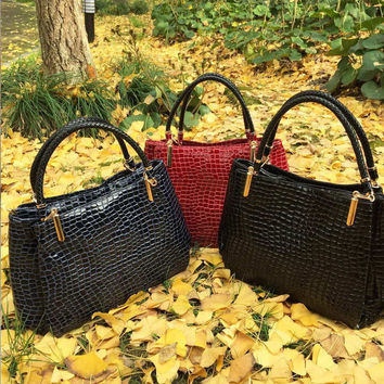 "Designer Brand Animal Friendly ""Leather""  Bag; Croc Pattern Shoulder Tote Bag: Black, Blue or Red"