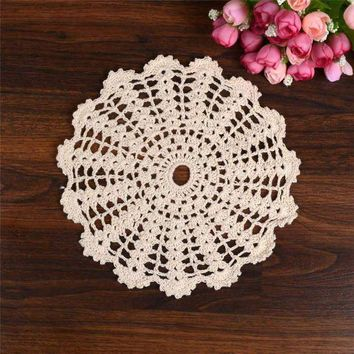 ESBONIS Hand Crochet Lace Table Placemat Wedding Decor Retro Table Cup Mat Decor Coffee Cup Drink Placemat Coasters Round Cotton Yarn